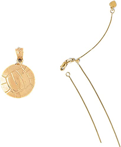 14K Yellow Gold Volleyball Pendant on an Adjustable 14K Yellow Gold Chain Necklace