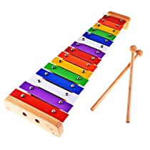 Rolimate 15 Notes Chromatic Glockenspiel Xylophone Instrument - Aluminum Key Notes Engraved Into Metal Keys