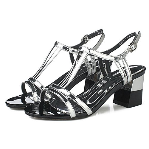 AmoonyFashion Womens Solid Patent Leather High-Heels Buckle Open-Toe Sandals Silver DQqCSg