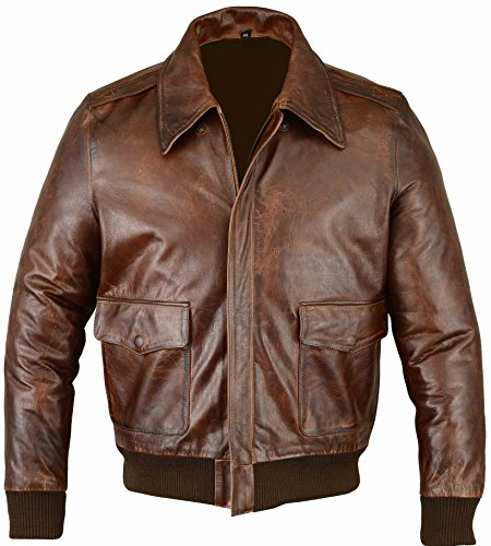 Men's Air Force A-2 Leather Flight Bomber Jacket - Brown L (A2 Leather Flight Jacket)