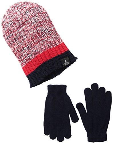 Aquarius Big Boys' Knit Ribbed Twist Yarn Beanie with Solid Magic Glove, Navy/Red, One Size