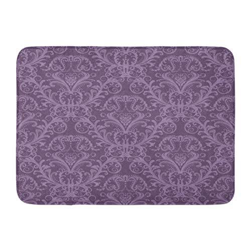 Emvency Doormats Bath Rugs Outdoor/Indoor Door Mat Pink Pattern Purple Floral Damask Vintage Classy Lavender Luxury Bathroom Decor Rug Bath Mat 16