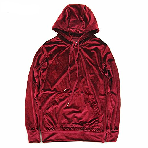 (HANGJIA Men's Hoodies Hip Hop Swag Velvet Velour Long Sleeve Hooded Sweatshirt Red S)