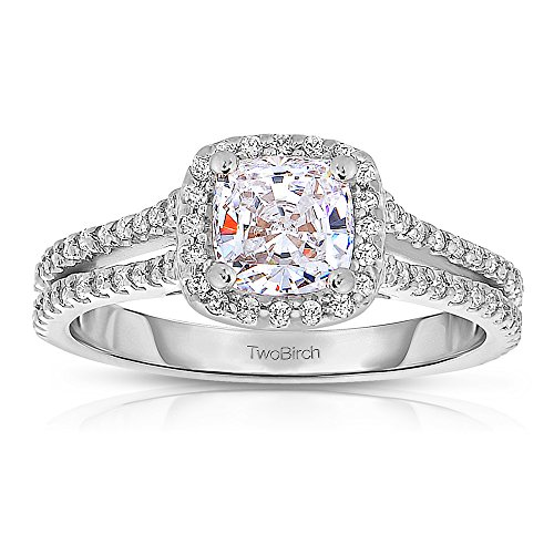 Cushion Cut Halo Engagement Ring Set Including Matching Wedding Ring with 1.16 cts of Forever Brilliant Moissanite by Charles Colvard in Silver Moissanite Cushion Wedding Set Ring