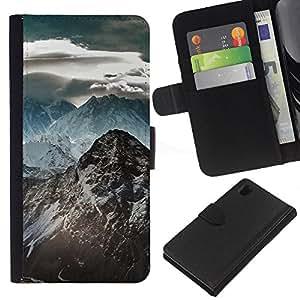 JackGot ( Montaña Nevada del Himalaya ) Sony Xperia Z1 L39 la tarjeta de Crédito Slots PU Funda de cuero Monedero caso cubierta de piel