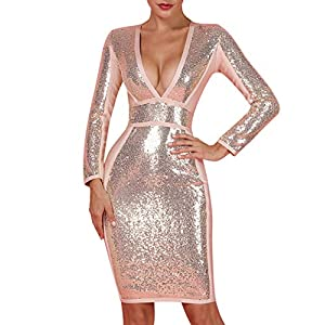 whoinshop Women's Long Sleeves Sequin and Bandage Deep Plunge Midi Evening Dress