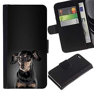 Be Good Phone Accessory // Caso del tirón Billetera de Cuero Titular de la tarjeta Carcasa Funda de Protección para Apple Iphone 4 / 4S // Dachshund Black Grey Puppy Dog