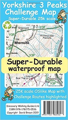 Yorkshire 3 Peaks Challenge Map Amazon Co Uk David Brawn Ros
