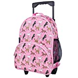 Wildkin Rolling Luggage, Features Telescopic Top Grab Handle with Convenient Extras for Quick and Easy Organization - Horses in Pink