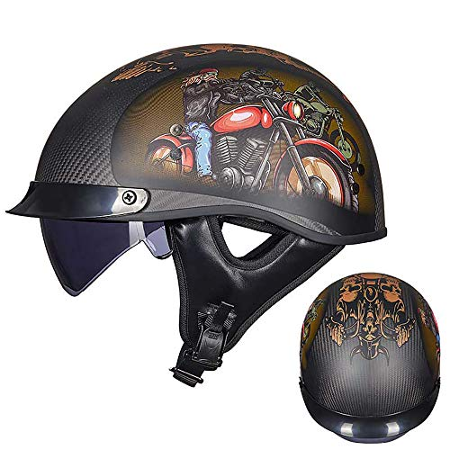 Ssmmxx Jet Helmet Open Face Motorcycle Helmet Light Carbon Fiber/Top Design/Suitable for Motorcycle/Scooter/ATV/Motorcycle Rider and Cyclist,M