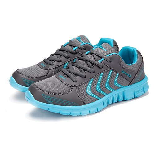 Ponyka Women's Lightweight Athletic Walking Sneakers Breathable Tennis Road Running Shoes US4.5-10.5 Dark Gray