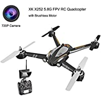 XK X252 5.8G FPV 7CH 3D 6G RC Quadcopter Drone RTF 1804 Brushless Motor, with 720P 140° Wide-Angle HD Camera