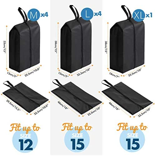 2Unique Travel Shoe Bags for Women and Men. 9-Set Portable Traveling Shoes Packing Carry Bag. Suitcase Storage Organizer Pouch. Black Waterproof Nylon Zipper. Shoe Bags for Travel. 9-Set