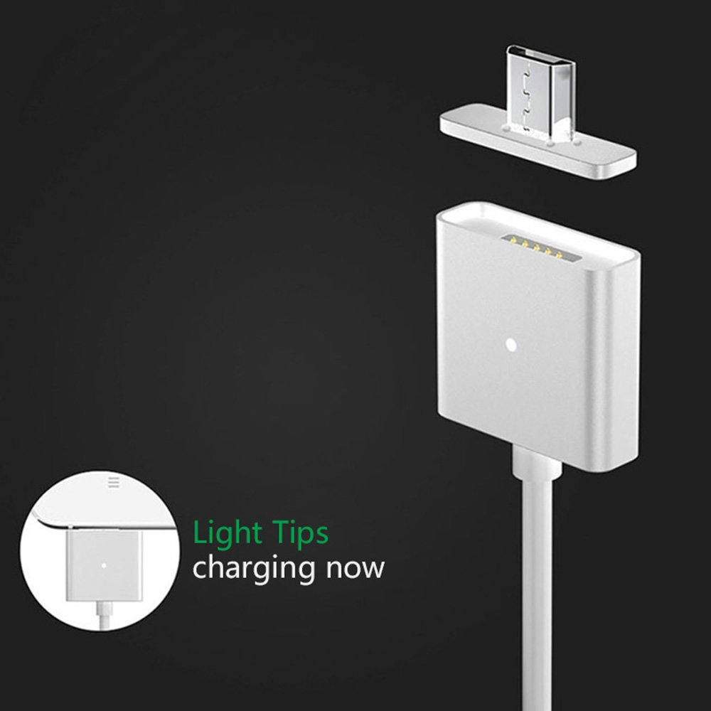 Sliver 1M High Speed USB 2.0 A Male to Micro B Sync and Charge Cable Line for iPhone5 5s 5c 6 6s Plus Creative Premium Magnetic Micro USB Quick Charging Cable with LED Status Display