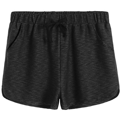 Weintee Women's Cotton Walking Sweat Shorts 2X Plus Heather Black
