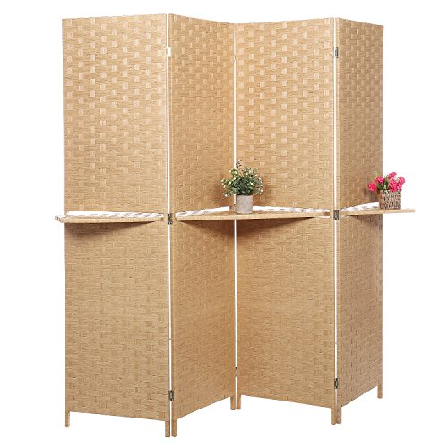 Reception Privacy Screen (Freestanding Bamboo 4-Panel Partition Room Divider with Removable Shelf, Beige)