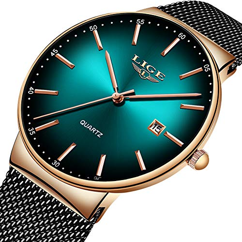 - LIGE Mens Watches Stainless Steel Waterproof Fashion Simple Milanese Mesh Band Wrist Watch Gents Green Dial Date Casual Dress Luxury Analogue Quartz Watches