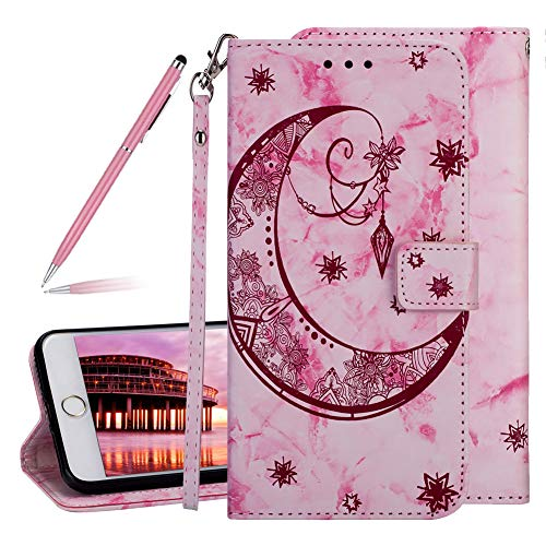 """Marble Moon Embossing Imprinted Flip Wallet Premium PU Leather Case for iPhone 6 Plus /6S Plus 5.5"""",SKYXD Embossed Flower Totem 3D Pattern Magnetic Closure Soft Slim Cover with Wrist Strap(Rose Red) from SKYXD"""
