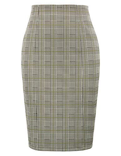 Wear Plaid Skirt - Kate Kasin Womens Stretchy Office Pencil Skirt Wear to Work,Plaid Size L Yellow