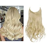 SARLA Halo Hair Extensions Long Wavy Curly Synthetic Hair Piece for Women Pale Ash Blonde Adjustable Size Transparent Wire Headband Heat Friendly Fiber 22 Inch 5.3 Oz No Clip