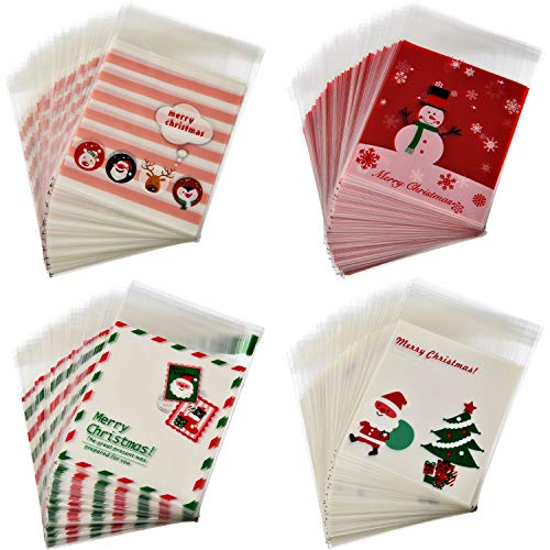 Boao 400 Pieces Christmas Cellophane Bags Cookie Treat Bags Self-Adhesive Packaging Plastic Bags Party Favor Bags, 4 Styles - Christmas Bags Cellophane