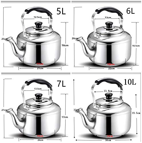Extra Sturdy Stainless Steel Whistling Tea Kettle for Stovetop Induction Cooker, 10 Quart by Towa (Image #6)