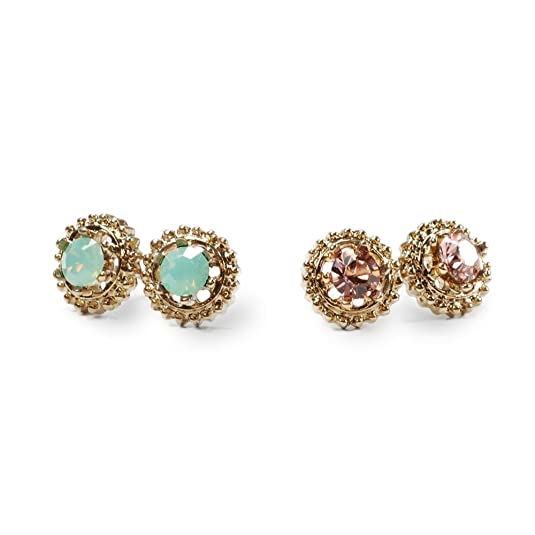 Vintage Style Jewelry, Retro Jewelry Sweet Romance Vogue Stud Earrings Set of 2pr $20.00 AT vintagedancer.com