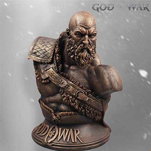- ABYSTEPS Statues & Sculptures - God War 4 Statue Kratos 1:3 Ghost Sparta Bust Son Zeus Resin Imitation Copper White Mold Pendulum Model 1 PCs