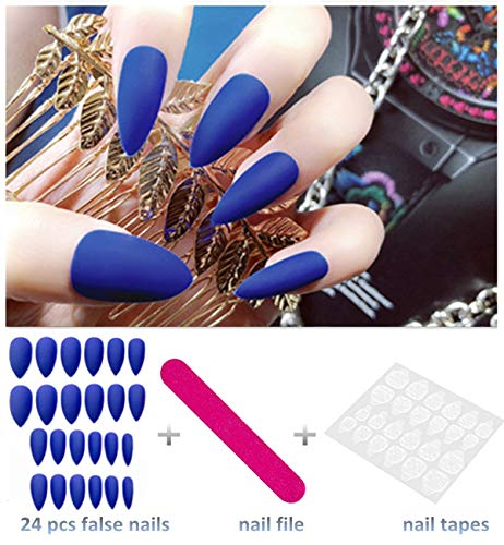 editTime 24PCS Solid Colors Acrylic Stiletto False Nails Full Cover Fake Nails Tips Natural Long Claw Nails (Matte blue) -