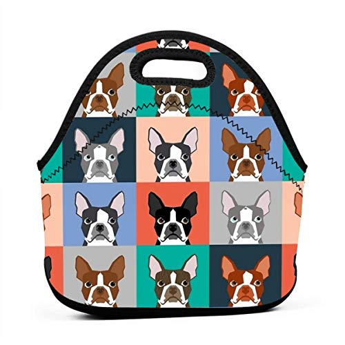 AGRBLUEN Women Men Kids Reusable Neoprene Insulated Boston Terriers Tile Bulldog Dog Set Pattern Bento Pouch Durable Keep Cooler and Warm Portable Lunch Tote Bag Insulated Lunch Bag