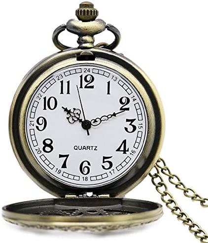 YXZQ懐中時計、アンティーク銅スチームパンクヴィンテージ中空ブロンズギア中空クォーツネックレスペンダント時計チェーン