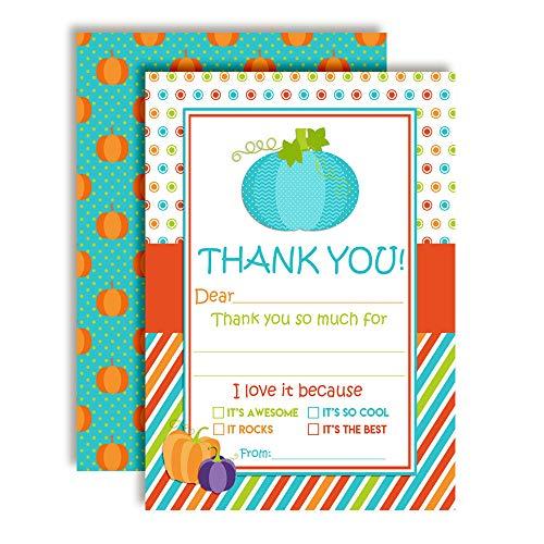 Cute Pumpkin Birthday Party Thank You Notes for Boys, Ten 4