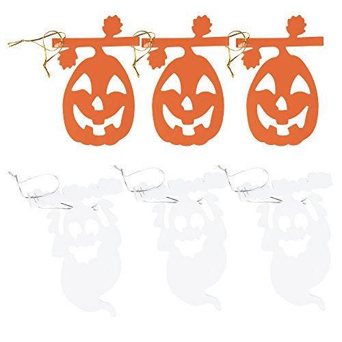 Halloween Hanging Garland - 6-Pack Halloween Party Banner Decoration, Ghost and Pumpkin Garlands for Themed Party, Haunted House, 2 Designs, White and Orange, 5.9 inches x 8.85 Feet Each -