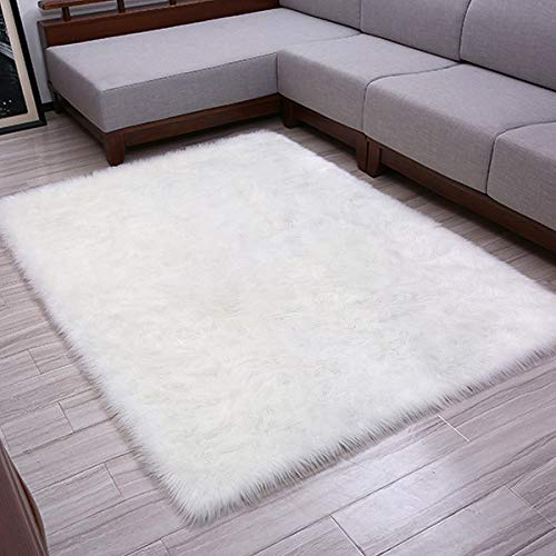 Softlife Faux Fur Sheepskin Area Rug Shaggy Wool Carpet for Bedroom Girls Living Room Home Decor (3ft x 5ft, White) (Rugs Sale For Carpets)
