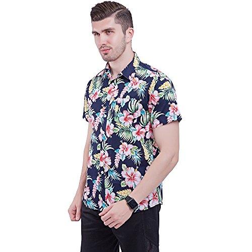 A Manica Hawaiana Fancy Ananas Estate Uomo Festa Corta Shirt Floreale Stampa Camicia Spiaggia Blue Button Casual Flower Festiva Dark Pois Da Bmeigo 4tqwPxf