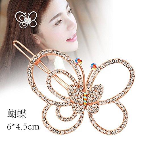 usongs Zircon Micro Pave butterfly flower frog deduction word folder side folder bangs clip hairpin hair ()