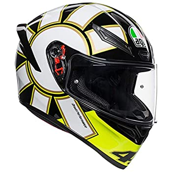 Image of Helmets AGV Unisex-Adult Full Face K-1 Gothic 46 Motorcycle Helmet Black/White/Yellow Medium/Large
