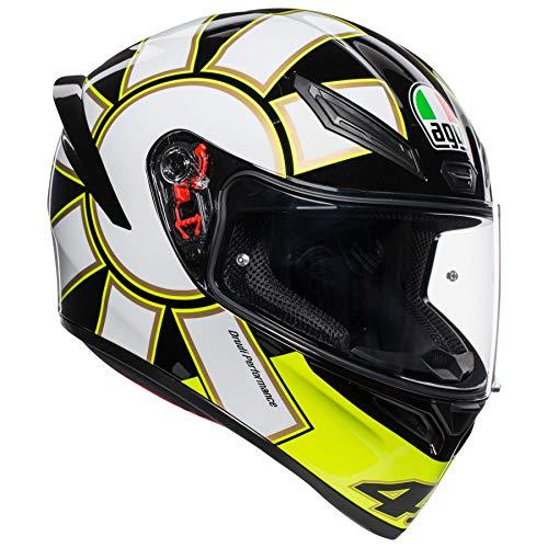Face Gothic - AGV Unisex-Adult Full Face K-1 Gothic 46 Motorcycle Helmet Black/White/Yellow Large