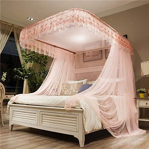 ピンクベッドキャノピー,プリンセス調整可能な蚊帳 ガイド レール 暗号化糸 レース ダブルベッド用ベッドカーテン-c