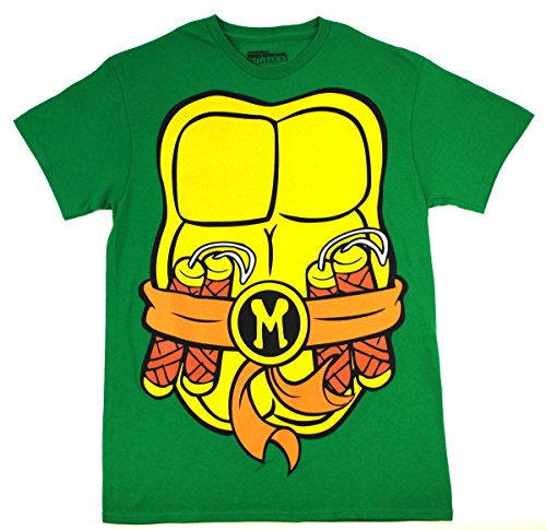 [Teenage Mutant Ninja Turtles Men's Costume T-Shirt, Green & Orange Michelangelo, X-Large] (The Orange Ninja Turtle Costume)