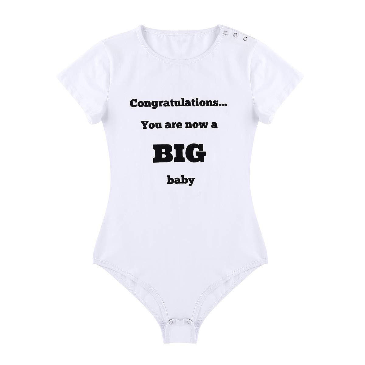 Agoky Unisex Bodysuit Basic Kurzarm T-Shirt mit Spruch Lustig Jumpsuit Overall Baby Strampler f/ür Damen und Herren