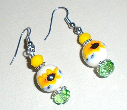 Sunflower Flower Ceramic & Yellow Green Crystal Glass Bead Earring Set (Fish Hooks)