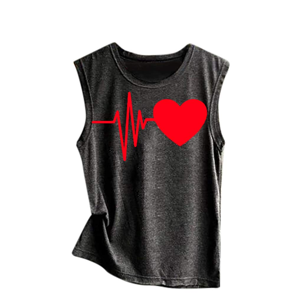 Tank Top for Women Heart Print Graphic Tees Summer Sleeveless Funny Workout Vest T-Shirt (S, A)