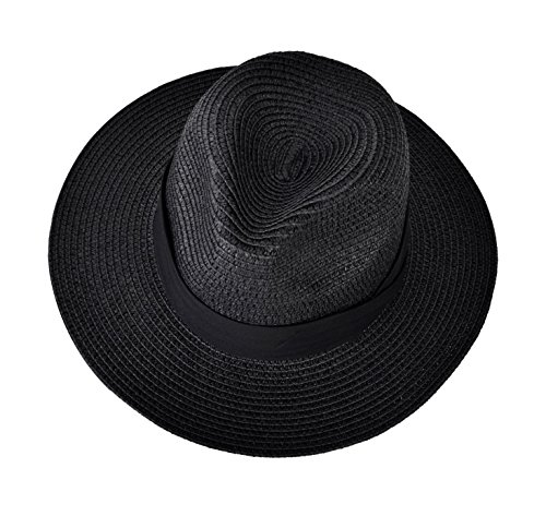 Urban CoCo Women's Wide Brim Straw Panama Floppy Beach Sun Hat With Strap (Black Panama Straw Hat)