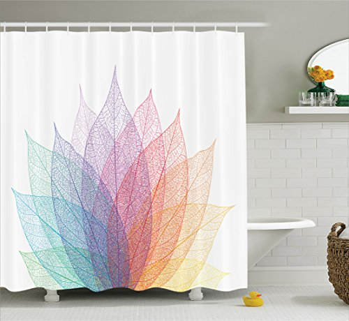 Ambesonne Abstract Home Decor Shower Curtain Set, Leaf Abstract Artwork Four Season Flora Delicate Transparent Nature Theme, Bathroom Accessories, 75 Inches Long, Turquoise Purple ()