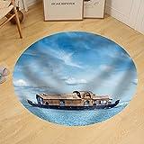 Gzhihine Custom round floor mat Tourist houseboat in Vembanadu Lake Kerala India