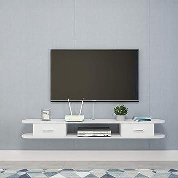 Mueble de televisión de Pared Estantería de Pared con cajones Dormitorio Sala Estante Flotante Estante de Almacenamiento Multimedia Soporte TV Blanco 1.2M / 1.4M (Color : Blanco, Tamaño : 140cm): Amazon.es: Electrónica