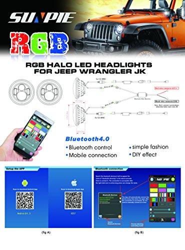 7'' LED Headlights Bulb RGB Halo Angel Eye with Bluetooth Remote for 1997~2017 Jeep Wrangler JK LJ CJ Sahara Sport Rubicon Hummer H1 H2 Headlamp Driving Light DRL by SUNPIE (Image #5)