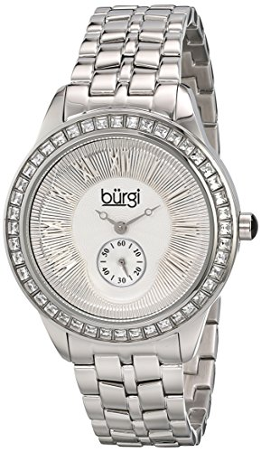 Burgi Women's BUR106SS Crystal Accented Silver Swiss Quartz Watch with Silver Dial and Silver Bracelet