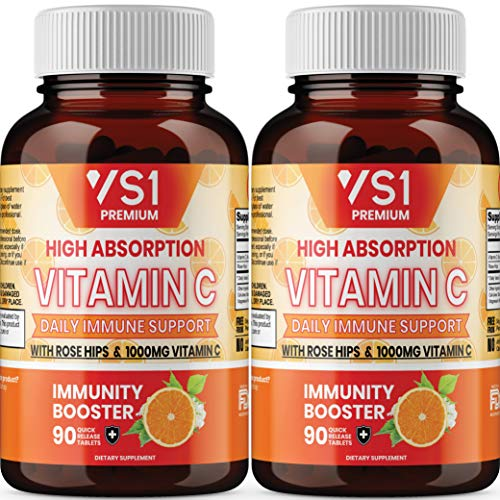 (2-Pack) Vitamin C 1000mg w/ Rose Hips by VS1 - Supplement for Immune Support for Adults Kids - Immune System Booster, Immunity Defense, High Absorption - Non GMO, Gluten Free - 180ct